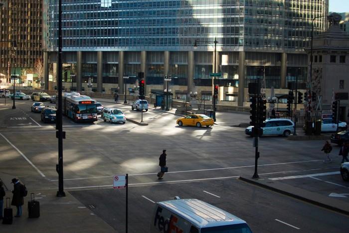 Фото: Перекресток в центре Чикаго